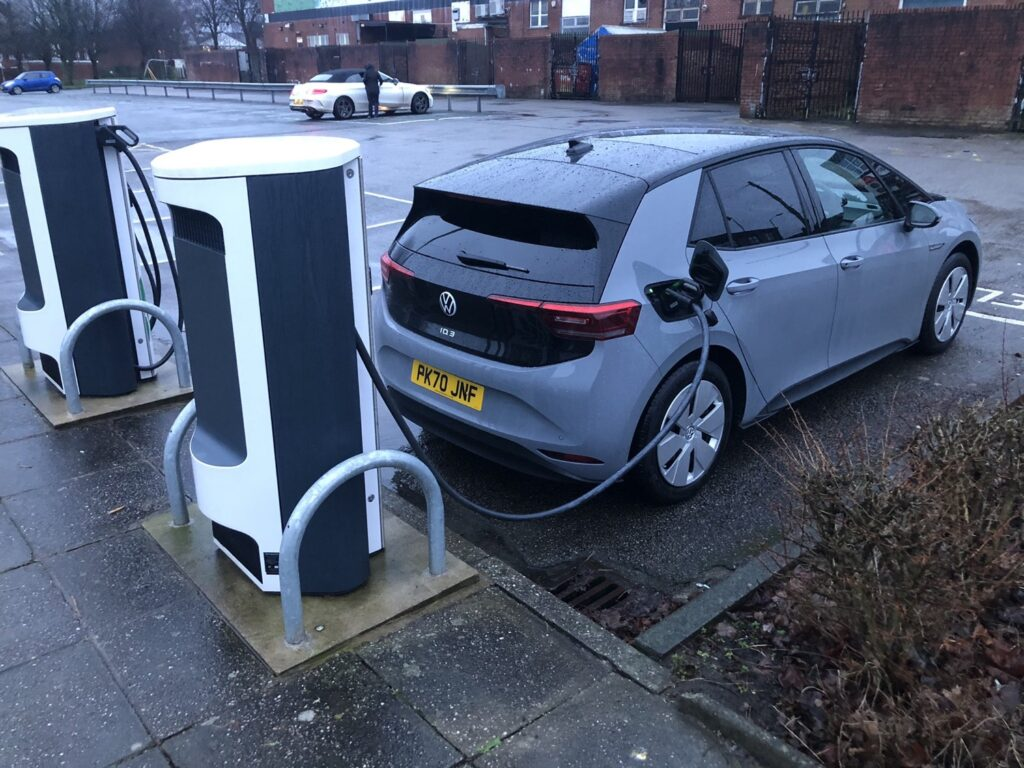 VW iD3 on charge in the UK
